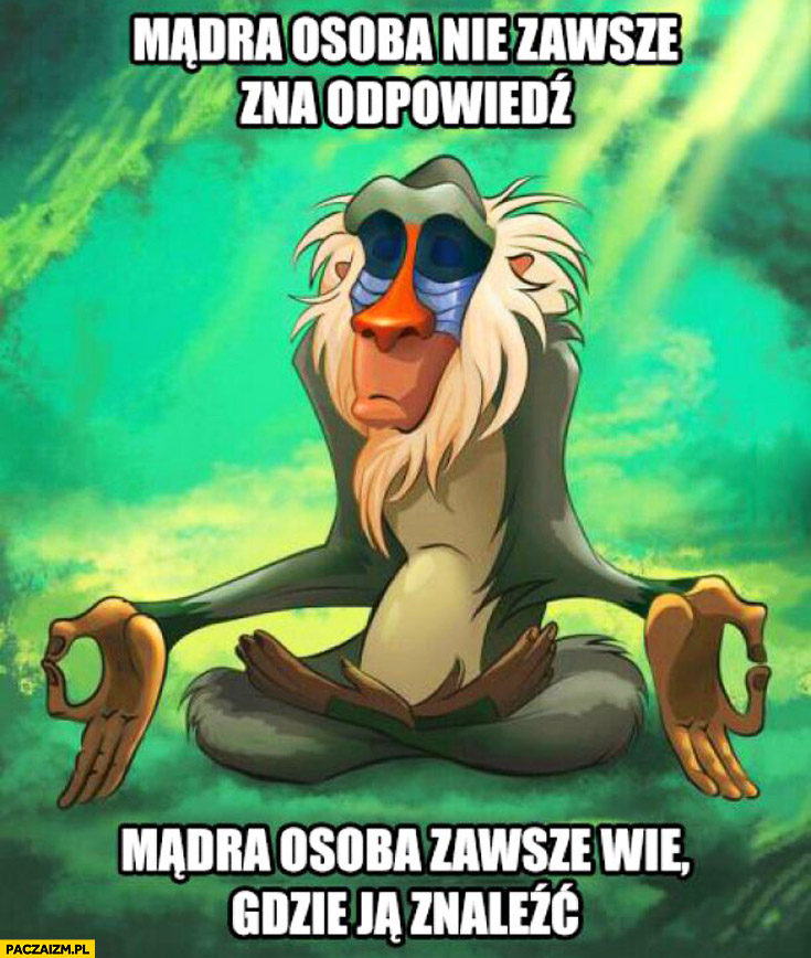 Mądra osoba nie zawsze zna odpowiedź mądra osoba zawsze wie gdzie ją znaleźć Król Lew