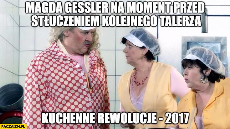 Magda Gessler na moment przed stłuczeniem kolejnego talerza kuchenne rewolucje 2017 Kiepscy Ferdynand Kiepski
