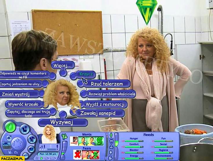 Magda Gessler The Sims wybór akcji zachowania odpowiedzi Kuchenne Rewolucje
