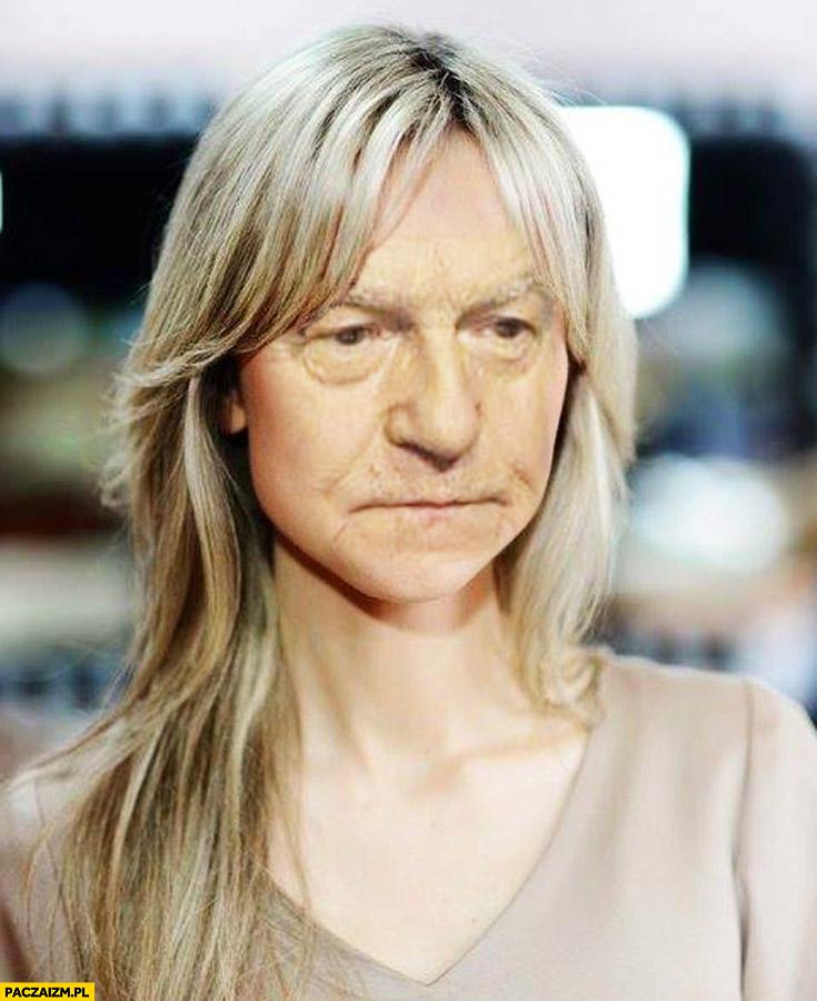 Magdalena Ogórek z twarzą Leszka Millera