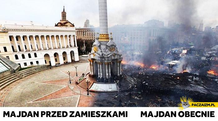 Majdan przed zamieszkami i obecnie