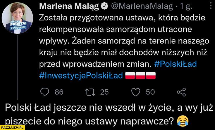 Maląg poprawka do nowego ładu polski ład jeszcze nie wszedł w życie a wy już piszecie do niego ustawy naprawcze