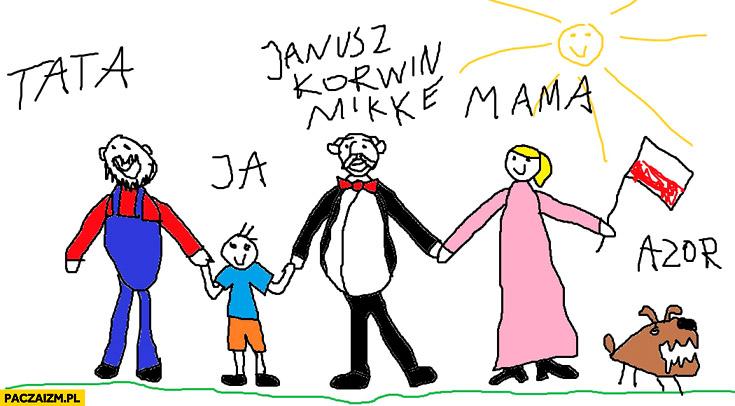 Mama, tata, ja, Janusz Korwin-Mikke Azor rysunek dziecka