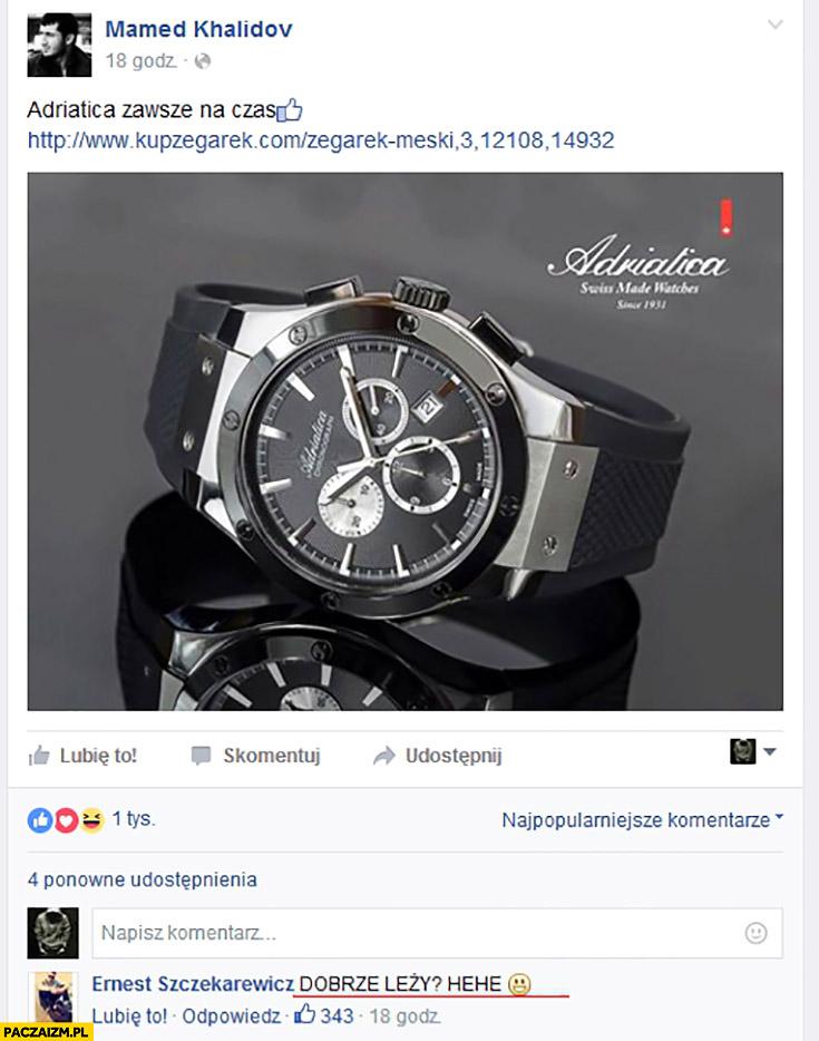 Mamed Khalidov Adriatica zawsze na czas. Dobrze leży? Komentarz na facebooku