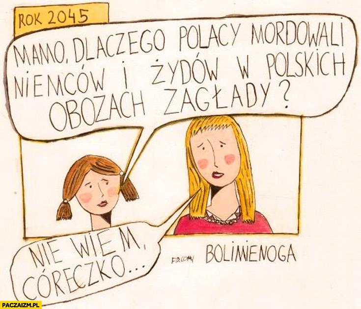 Mamo dlaczego Polacy zabijali Niemców i Żydów w polskich obozach zagłady nie wiem córeczko bolimienoga