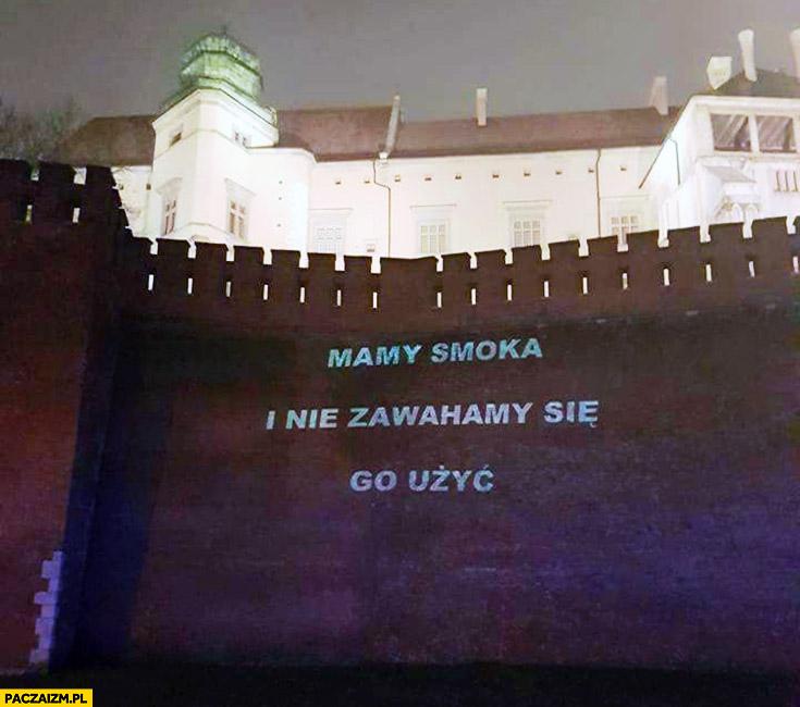 Mamy smoka i nie zawahamy się go użyć napis na Wawelu