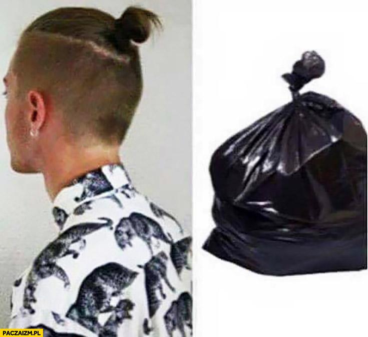 Man bun kok kucyk wygląda jak worek na śmieci