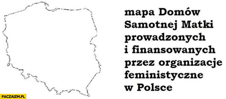 Mapa domów samotnej matki prowadzonych i finansowanych przez organizacje feministyczne w Polsce pusta brak