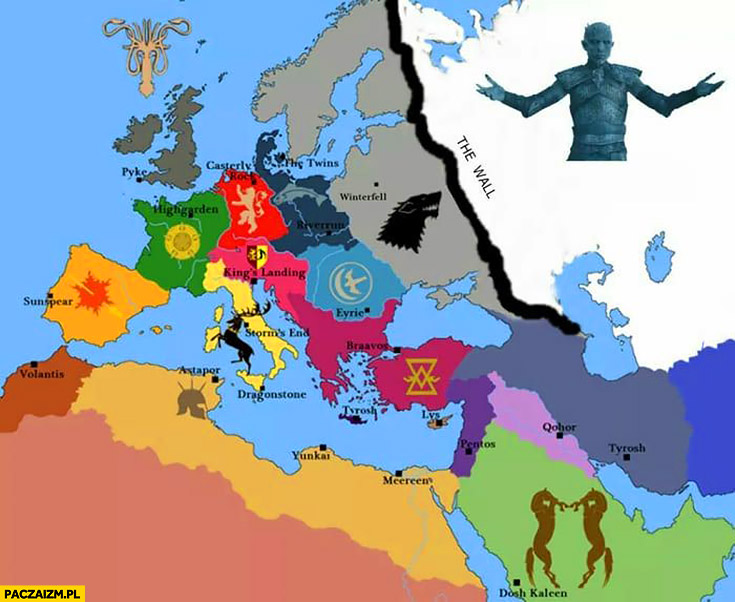 Mapa Europy Gra o Tron
