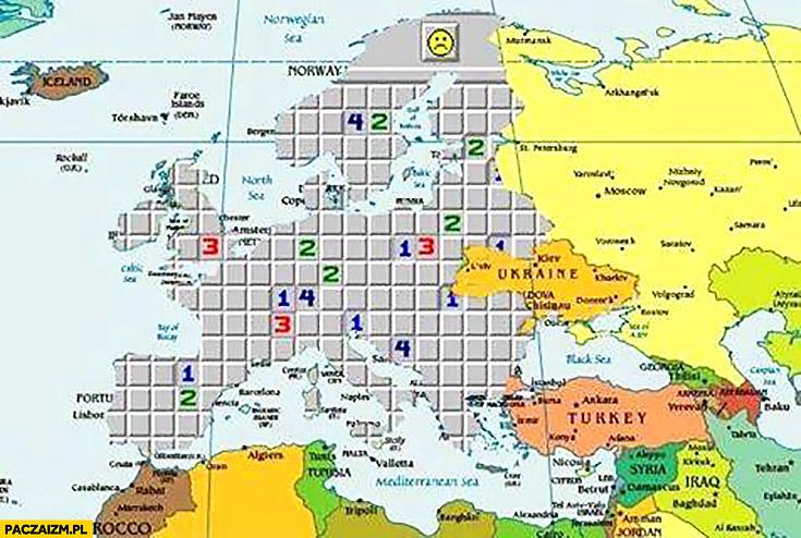Mapa Europy gra saper gdzie będzie następna bomba
