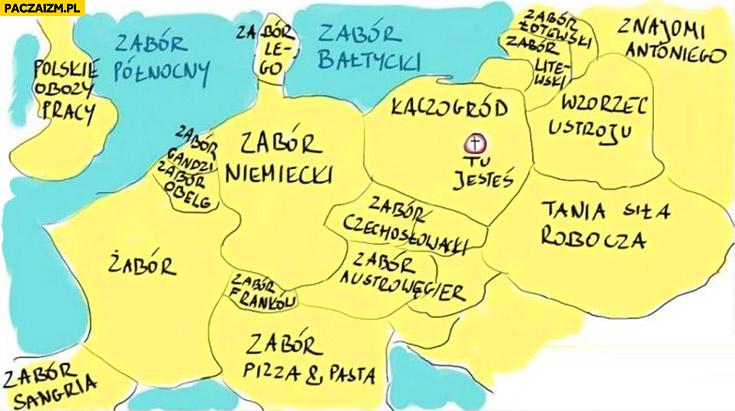 Mapa Europy Kaczogród tu jesteś zabór niemiecki, tania siła robocza, polskie obozy pracy