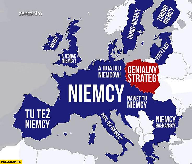 Mapa Europy Polska genialny strateg wszędzie indziej Niemcy