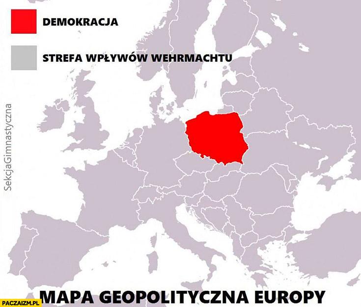 Mapa geopolityczna Europy demokracja vs strefy wpływów Wehrmachtu