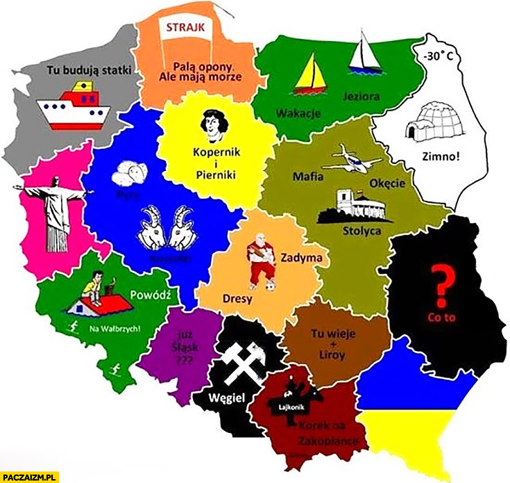 Mapa Polski województwa z czym się kojarzą