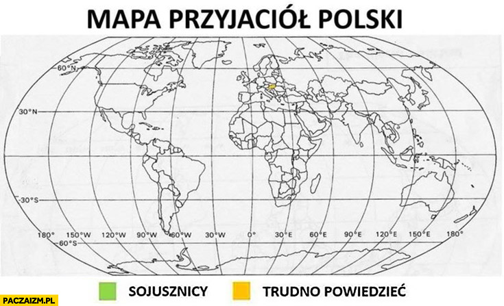 Mapa przyjaciół Polski – sojusznicy, trudno powiedzieć Węgry