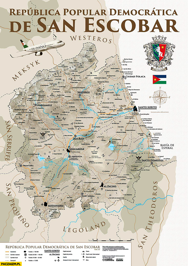 Mapa San Escobar Republica popular democratica de San Escobar