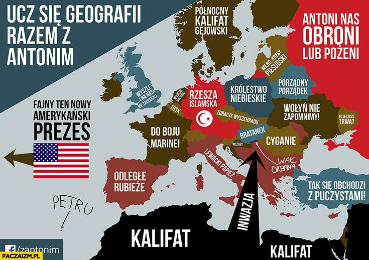 Mapa świata ucz się geografii razem z Antonim Macierewiczem Królestwo Niebieskie, kalifat, inwazja, rzesza islamska