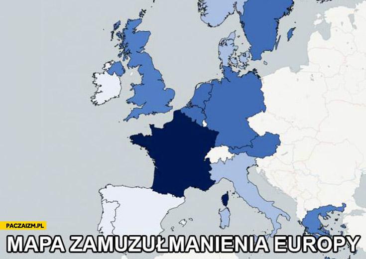 Mapa zamuzułmanienia Europy
