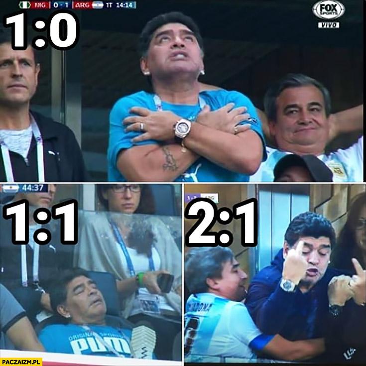 Maradona na meczu Argentyny zachowanie a wynik 1:0, 1:1, 2:1