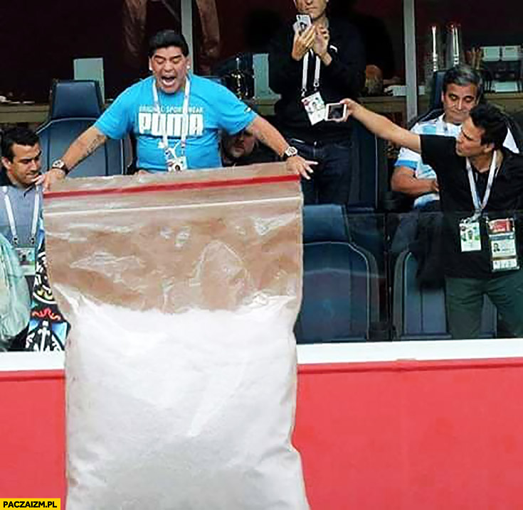 Maradona z wielkim workiem kokainy koksu przeróbka