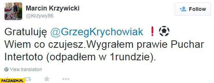 Marcin Krzywicki gratuluje Grzegorz Krychowiak wiem co czujesz wygrałem prawie puchar Intertoto odpadłem w 1 rundzie