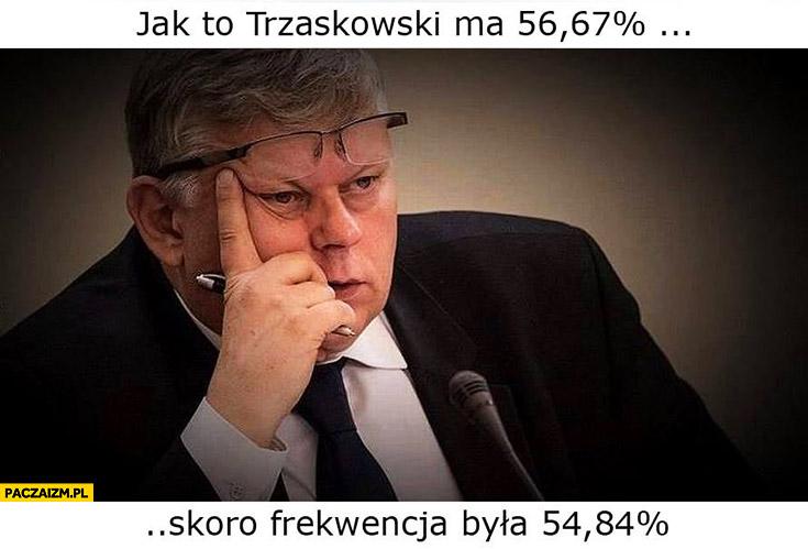 Marek Suski jak to Trzaskowski ma 56% procent skoro frekwencja była 54% procent?