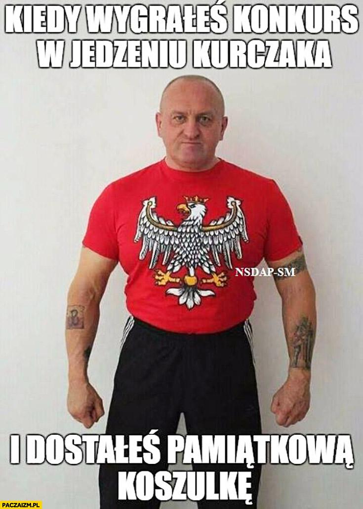 Marian Kowalski kiedy wygrałeś konkurs w jedzeniu kurczaka i dostałeś pamiątkową koszulkę orzeł orzełek