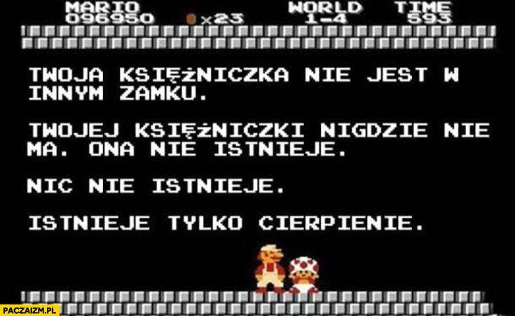 Mario Twoja księżniczka nie jest w innym zamku, ona nie istnieje, istnieje tylko cierpienie