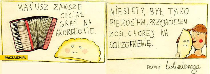 Mariusz zawsze chciał grać na akordeonie niestety był tylko pierogiem przyjacielem Zosi chorej na schizofrenię
