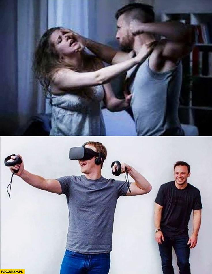 Mark Zuckerberg wirtualna rzeczywistość wygląda jakby się bił z kobietą