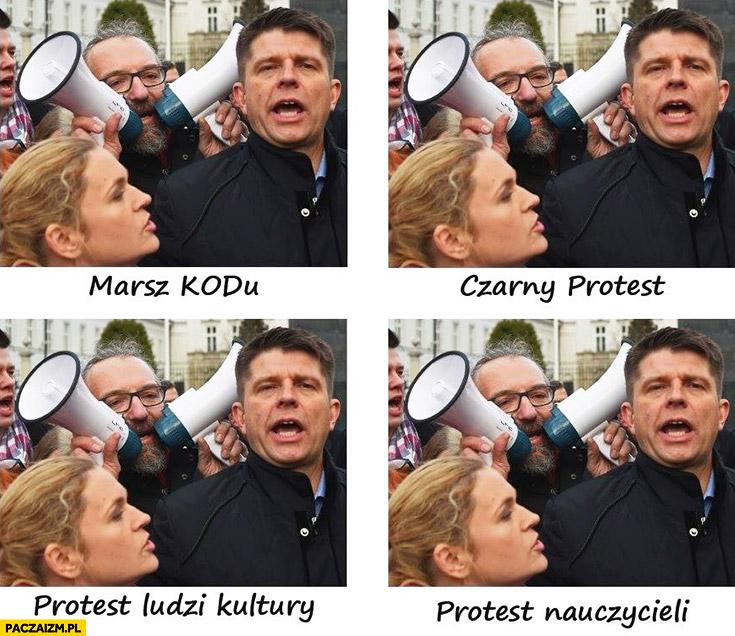 Marsz KODu, czarny protest, protest ludzi kultury, protest nauczycieli. Porównanie – wszędzie Petru Nowacka Kijowski KOD