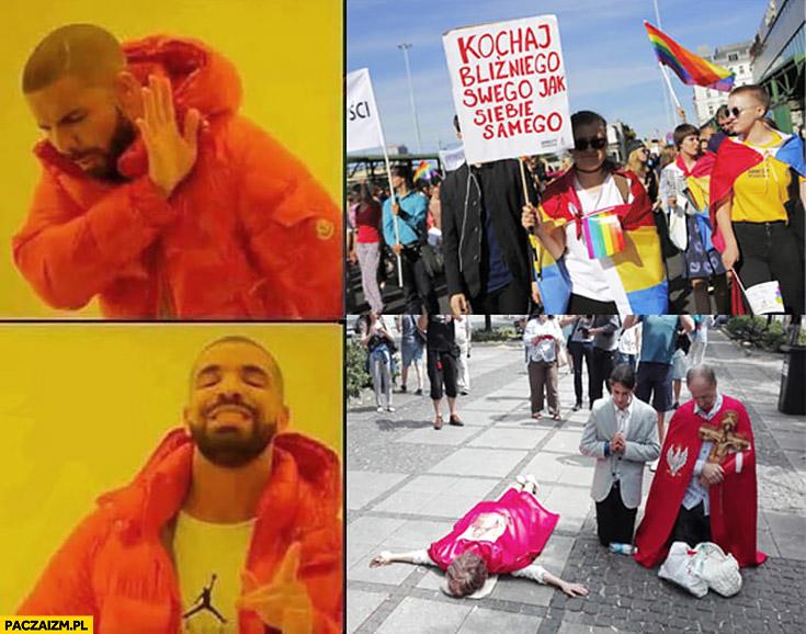 Marsz Równości w Częstochowie nie chce, woli marsz katolicki leży krzyżem twarzą na ziemi