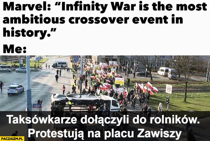Marvel crossover taksówkarze dołączyli do rolników, protestują na Placu Zawiszy