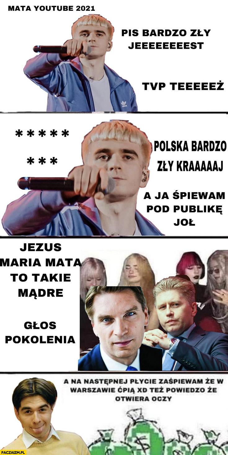 Mata PiS jest bardzo zły TVP też, Polska bardzo zły kraj, Lis Matczak to takie mądre, głos pokolenia, na następnej płycie zaśpiewam, że w Warszawie ćpią