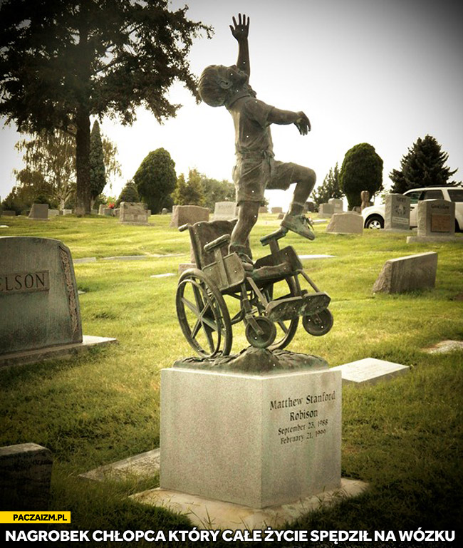 Matthew Stanford Robinson nagrobek chłopca który spędziż życie na wózku
