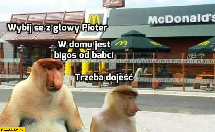 McDonalds wybij sobie z głowy Pioter, w domu jest bigos od babci trzeba dojeść typowy Polak nosacz małpa