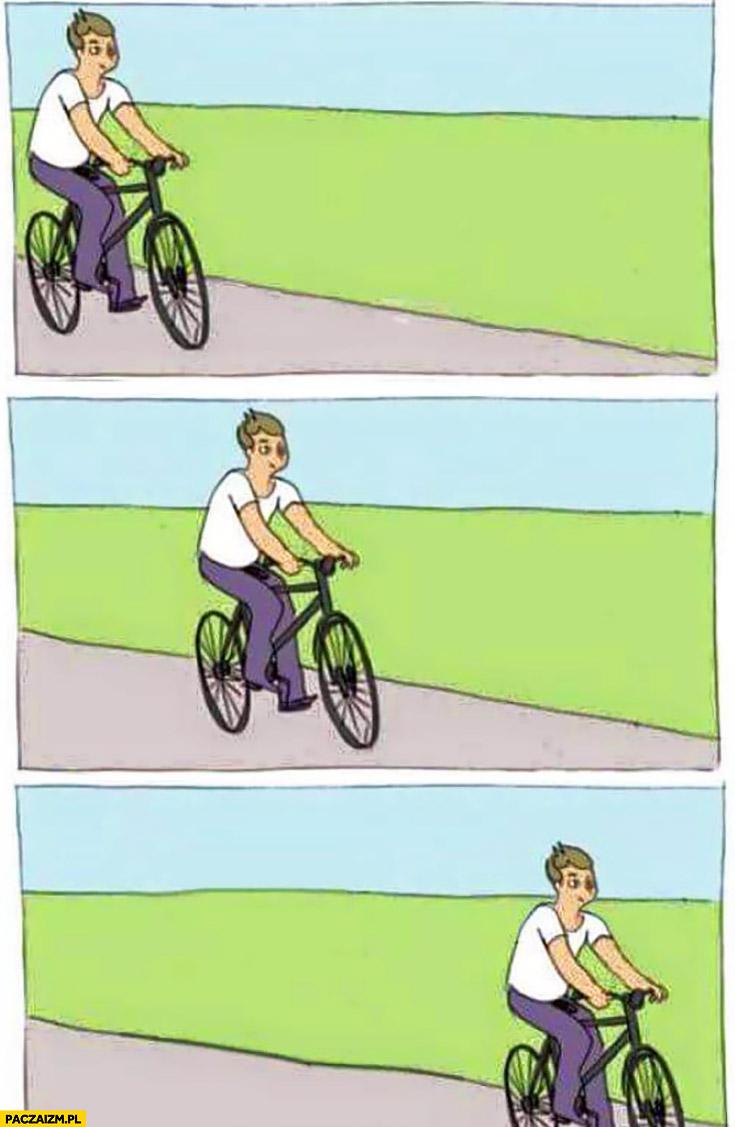 Mem jedzie na rowerze kij w szprychy komiks wersja nie wywala się bez gleby przeróbka