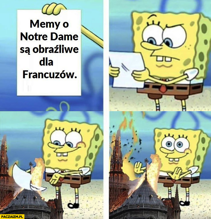 Memy o Notre Dame są obraźliwe dla Francuzów Spongebob pali przy ogniu z Notre Dame