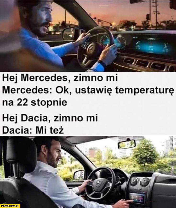 Mercedes zimno mi, ok ustawie 22 stopnie, Dacia zimno mi, Dacia: mi też
