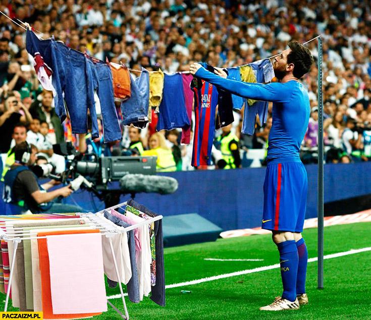 Messi rozwiesza pranie w trakcie meczu