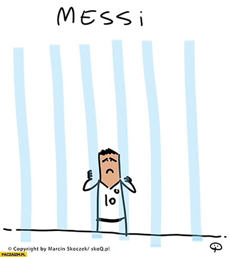 Messi za kratkami flaga Argentyny rysunek Skoq
