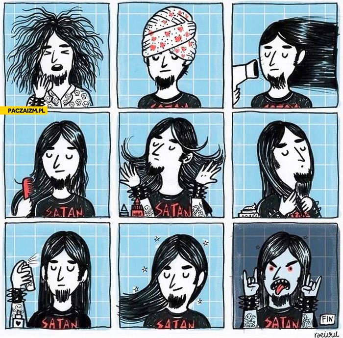 Metal przygotowuje fryzurę życie metala
