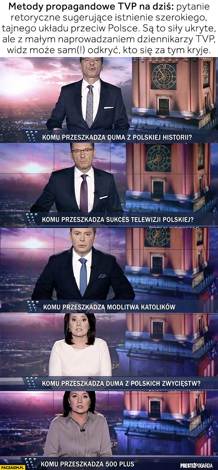 Metody propagandowe TVP: pytanie retoryczne sugerujące istnienie układu przeciw Polsce. Z naprowadzaniem dziennikarzy TVP widz może sam odkryć komu przeszkadza paski Wiadomości TVP