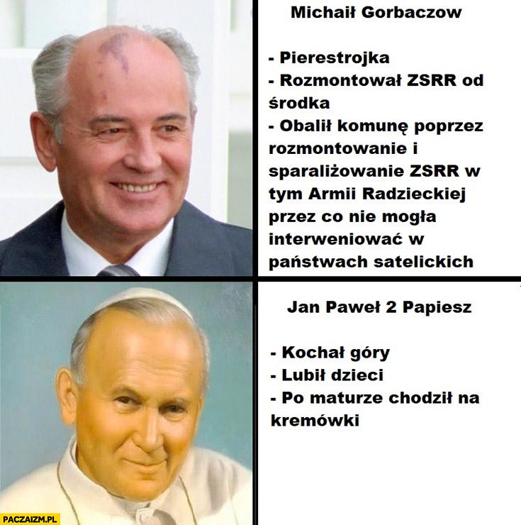 Michaił Gorbaczow, Jan Paweł 2 II porównanie