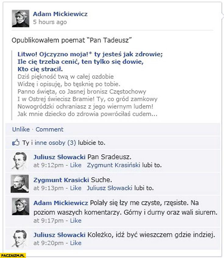 Mickiewicz opublikowałem poemat Pan Tadeusz Pan Sradeusz suche idź być wieszczem gdzie indziej