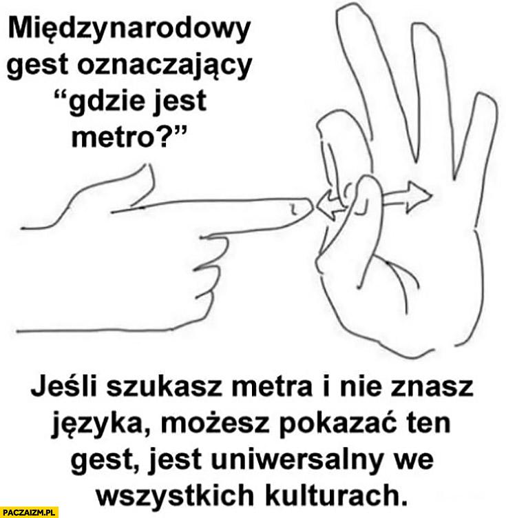 Międzynarodowy gest oznaczający gdzie jest metro uniwersalny we wszystkich kulturach palec w otwór