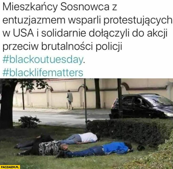 Mieszkańcy Sosnowca wsparli protesty w USA black lives matter pijani leżą