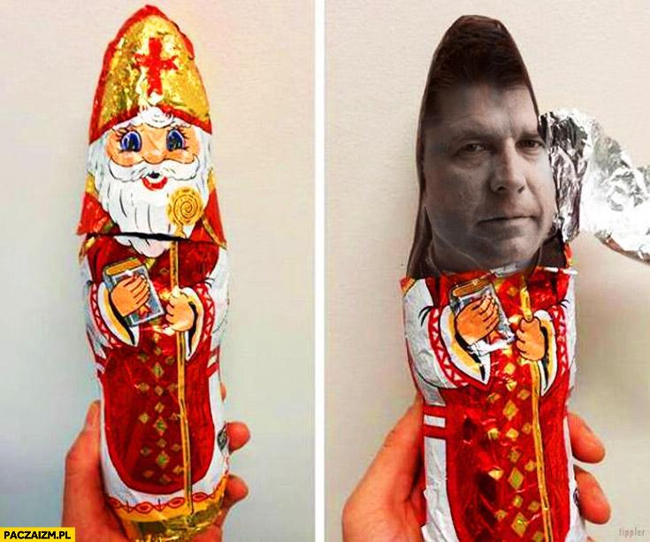 Mikołaj z czekolady Petru pod sreberkiem