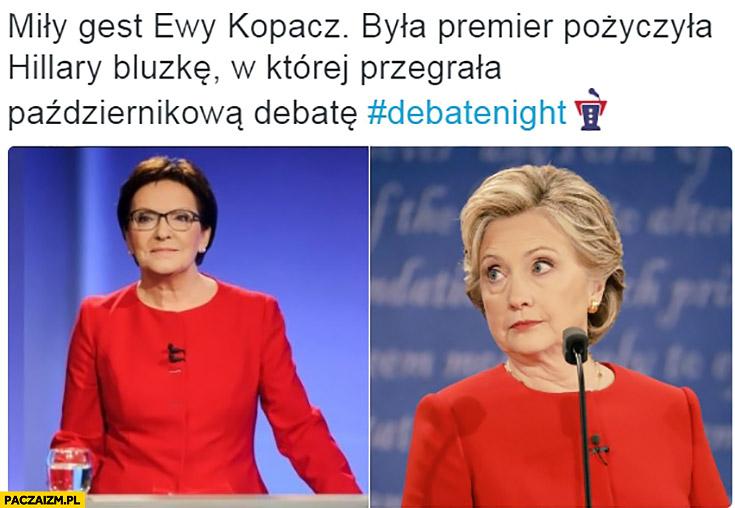 Miły gest Ewy Kopacz pożyczyła Hillary Clinton bluzkę, w której przegrała debatę