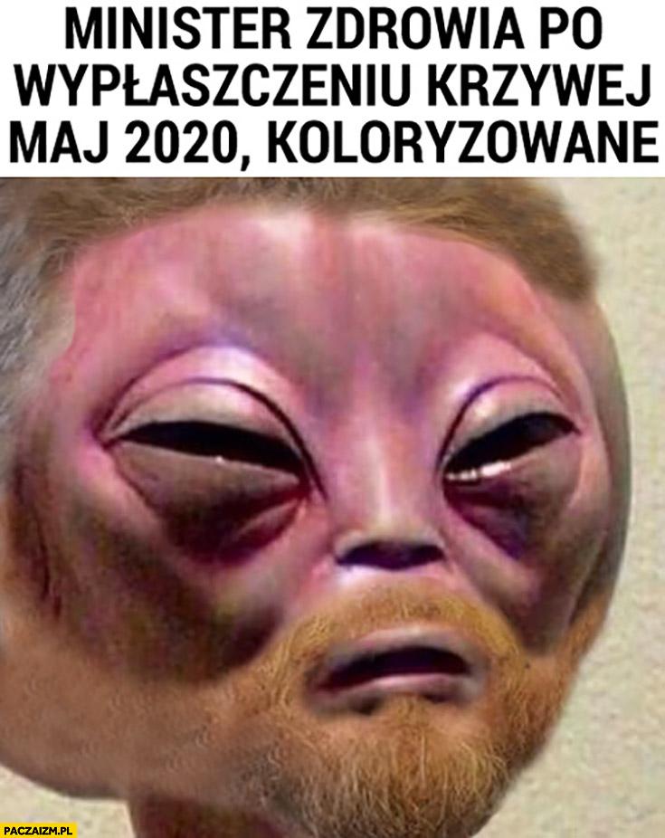 Minister zdrowia Łukasz Szumowski po wypłaszczeniu krzywej maj 2020 koloryzowane alien obcy ufo